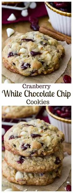 White Chocolate Cranberry Cookies, White Chocolate Chip Cookies, Chocolate Chip Oatmeal, Pecan Cookies, Cranberry Shortbread Cookies, Oatmeal Cookie Recipes, Cookie Desserts, Dessert Recipes, Easter Desserts
