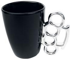 Design Mug - Knuckleduster  - mug - porcelain - 0.3 l - not suitable for dishwasher or microwave - approx. 12.5 x 11 cm  Design porcelain mug. The handle is shaped like a knuckleduster and also consists of porcelain. Capacity: 0,3 l. Not suitable for dishwasher or microwave.