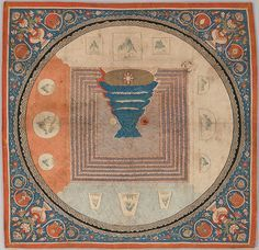 This is a silk tapestry with the pattern of the mandala, which is in the form of the Tibetan cosmological diagram. There is the Mount Meru in the center, surrounded by oceans and and mountains at the four quarters. Indian, Tibetan, and Chinese elements are displayed within this tapestry. Date is during 1271-1368. Location: China