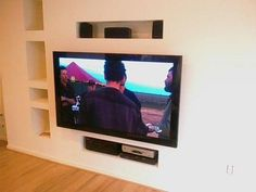 wall mounted tv with built in wall storage for the home living room pinterest home. Black Bedroom Furniture Sets. Home Design Ideas
