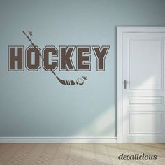"Creative Hockey Decal For Your Home Or Car! Customizable With Any Name. Exclusive coupon code for our Pinterest Family: Use ""PIN10"" for 10% off your entire order! Great for the kids room, man cave or where ever you want! ""Click The Photo To Buy Now"""