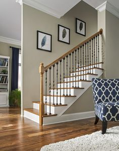 New unique indoor wood stairs design ideas you never seen before 20 – fugar House Design, Railing Design, Wood Stairs, Wrought Iron Design, Staircase Railing Design, Living Room Decor Cozy, Staircase Makeover, Stairs Design, Stairs