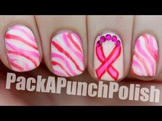 Breast Cancer Awareness Month Nail Art Tutorial check out www.ThePolishObsessed.com for more nail art ideas.