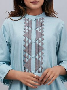 Powder Blue Cotton Asymmetric French Kurta with Grey Palazzo - Set of 2 Palazzo, Tunics, Bag Accessories, Powder, Fashion Dresses, Ruffle Blouse, Saree, French, Cotton