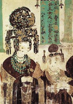 Cave painting from Mogao, China, showing the daughter of the King of Khotan, who married Cao Yanlu, in all her finery.