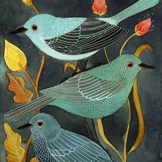 Love the shapes and colors in this print. Three little contented birds.