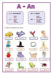 English worksheet: Articles: A or An