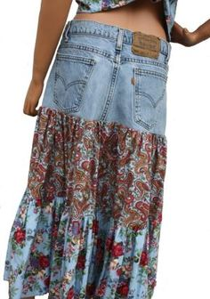 Custom Made Out of YOUR Own Jeans Upcycled Jeans Boho Gypsy Skirt Hippie Patchwork skirt Recycled Denim Skirt Diy Clothing, Sewing Clothes, Hippie Clothing, Denim Fashion, Boho Fashion, Jeans Recycling, Jean Diy, Moda Hippie, Denim Ideas