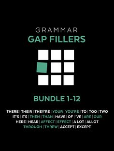 "Many teachers are tempted to ""get back to basics"" and teach everyone the concepts again, but that's not a good use of your time. A Grammar Gap Filler is a small, powerful package of materials that teach a single spelling, grammar, or usage rule. Gap Fillers are designed to let students review just the skills they need, on their own, and then get back to writing."