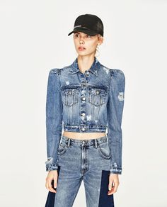 Image 2 of DENIM JACKET WITH PUFF SLEEVES from Zara