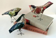 Amy Harris, set of 3 paper mache' birds, one of a kind original art, whimsical creature, recycled materials, private collection
