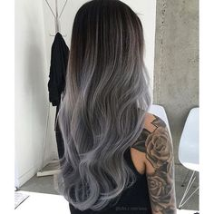 edgy gray ombre for long hair