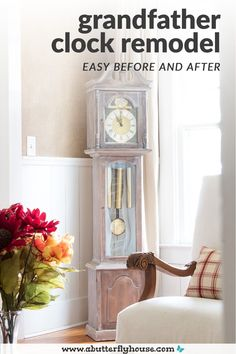 A particleboard grandfather clock gets a makeover in this easy but nerve-wracking DIY! Beautiful before and after to modernize a 70s-style grandfather clock! #furnituremakeover #furnitureflip Diy Furniture Flip, Thrift Store Furniture, Fine Furniture, Furniture Projects, Furniture Makeover, Butterfly House, 70s Style, Grandfather Clock, Weathered Wood