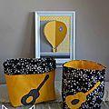 pochons réversibles vide poche rangement jaune moutarde noir étoiles guitare - décoration chambre bébé rock jaune moutarde noir étoiles guitare