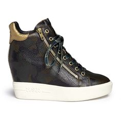 Ash 'Atomic' camouflage print leather wedge sneakers ($130) ❤ liked on Polyvore featuring shoes, sneakers, camouflage wedge sneakers, camo wedge sneakers, military shoes, genuine leather shoes and wedged sneakers