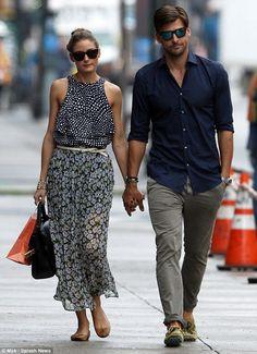Olivia Palermo and model boyfriend Johannes Huebl take a stroll in New York City on Thursday