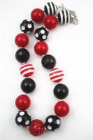 2pcs Wholesale Red/Black/White chunky Bumbblegum Girl Neckalces for girls and kids CB450