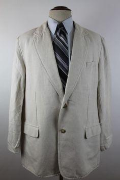 LL Bean Sport Coat OKQ58 44R Light Beige Linen Cotton Blend 2 button Excellent! #LLBean #TwoButton