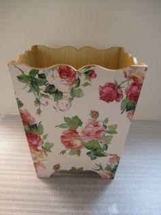 Mavis Rose Waste Paper Bin Trash Can Handmade by crackpotscrafts, £25.99