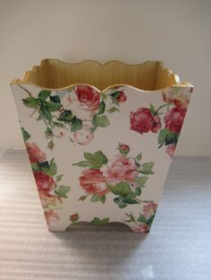 Mavis Rose Waste Paper Bin Trash Can Handmade by crackpotscrafts, £25.99