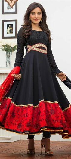 429532, Bollywood Salwar Kameez, Faux Georgette, Lace, Sequence, Resham, Black and Grey, Red and Maroon Color Family
