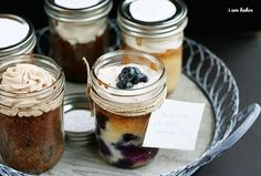 6 different cakes made from 1 cake recipe-- baked in jars.