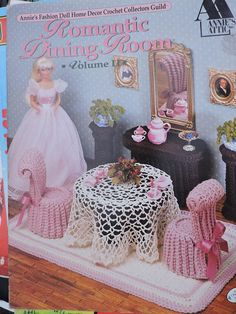 The Dining Room, Fashion Doll Barbie Home Decor Furniture Crochet Patterns, Dining Table Chair Rug Sideboard Tablecloth Tea Set PDF - 1022 Barbie Furniture, Home Decor Furniture, Barbie Clothes, Barbie Dolls, Doll Patterns, Crochet Patterns, Crochet Furniture, Accessoires Barbie, Doll Home