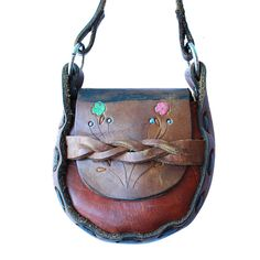 Mini Mexican Leather Tooled Purse - Floral Mocha- www.shopsweetthreads.com