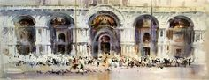 Watercolor by Laurentino Martí Watercolor Pictures, Watercolor And Ink, Marti, Spanish Art, Venice, Architecture, Painting, Water Colors, Statues