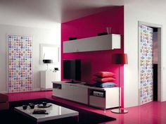 Interior: Awesome Color Pink Room Idea: Colorful Interior Design Living Room With Pink And White Wall Paint And Rug Under Coffee Table And W. Modern Room Design, Colorful Interior Design, Door Design Interior, Interior Colors, Karim Rashid, Small Bathroom Interior, Contemporary Interior Doors, Magazine Deco, Boutique Deco