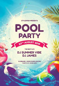 Pool Party Flyer by styleWish. Download the PSD design for $9 at www.stylewish.org