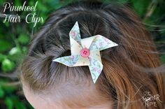 Adorable! Pinwheel hair clips >> 10 Easy No Sew Fabric Projects