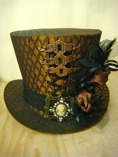 Steampunk Handmade copper Taffeta Top Hat with roses and keyhole frame | eBay