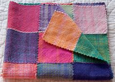 """Made with Gedifra Fiorista colour-shaded yarn in about 3 different colourways on a 6""""x6"""" Weavette hand-held loom."""
