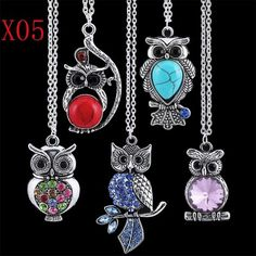 Wholesale 5pcs mixed vintage crystal rhinestone owl bird pendants necklace Gfit
