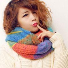 Beauty Elegant Women Fashion Neckwear Winter Knitted Scarf Warm Acrylic Long Shawls Knitted Crochet Scarves Winter Wraps