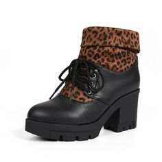 BalaMasa Girls Leopard Lace-Up Color Matching Thick Bottom Heel Imitated Leather Boots ** To view further, visit now : Rain boots