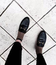 Fishnet Tights - Trend alert! Worn with Gucci Princetown Slipper…