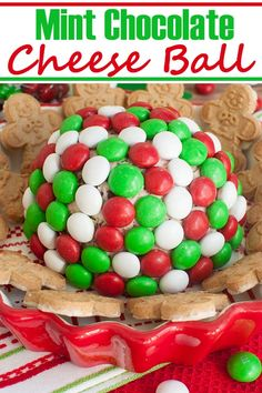 You've never had a cheese ball like this easy 5 ingredient Christmas dessert. This minty, fun and festive Holiday M&M Peppermint Cheese Ball will be a hit with your guests. It's the perfect make ahead idea for your holiday party or gathering. Who wouldn't love a no bake chocolate mint dessert with cream cheese. #christmas #holidays #desserts #dips #mint #chocolate #candy #peppermint #sweets #nobake Mint Desserts, Easy Holiday Desserts, Cream Cheese Desserts, Cold Desserts, Sweet Desserts, Christmas Desserts, Christmas Holidays, Christmas Recipes, Holiday Recipes
