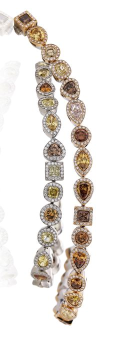Rosendorff Colours Of The Earth Collection Natural Fancy Coloured Diamond Bracelets
