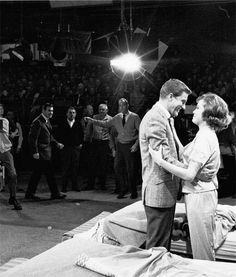 Dick Van Dyke and Mary Tyler Moore on the set of The Dick Van Dyke Show