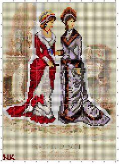 Cross stitch Victorian Ladies