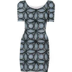 Blue and Black Print Dress