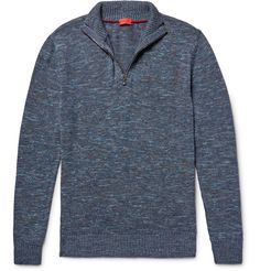 <a href='http://www.mrporter.com/mens/Designers/Isaia'>Isaia</a>'s clothing is exclusively produced in Italy and that dedication to fine craftsmanship shows. Meant to be worn semi-fitted, this half-zip sweater is made from a lightweight cotton and linen-blend and has a snappy tonal-blue mélange finish. Try it over a striped tee in similar hues.