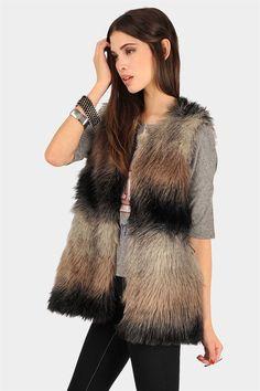 Fiona Faux Fur Vest - Grey