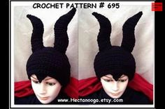 Maleficent style crochet hat----------    *** free tutorial ***
