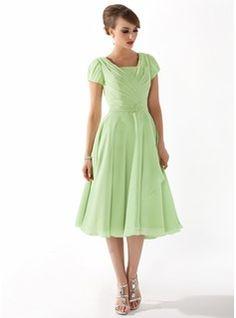 Corte A/Princesa Escote Cuadrado Hasta la rodilla Chifón Vestido de madrina con Volantes Bordado (008005918) - JJsHouse