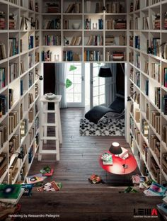 Space Saving Home Library Design With Red Table And Little Stair To Take Some Book Take Some Benefits from Reading Room Design Interior Design Library Room, Dream Library, Future Library, Library Shelves, Cozy Library, Mini Library, Library Ladder, Beautiful Library, Open Library