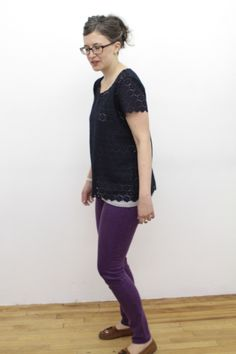 Navy Lace Tee Using the Scout Pattern from Grainline  Studio