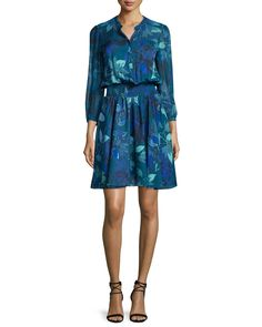 Smocked Tahitian Flower Silk Chiffon Dress, Multicolor, Multi Colors - Rebecca Taylor